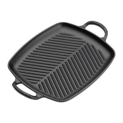 Signature Cast Iron 30cm Rectangular Grill in Satin Black