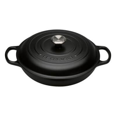 Signature Cast Iron 30cm Shallow Casserole Dish in Satin Black