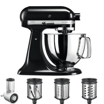 KitchenAid Artisan Mixer 4.8L in Onyx Black 5KSM125BOB - Veggie Bundle